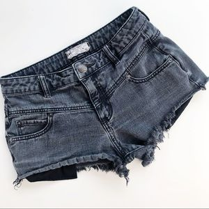 Free People Washed Black Denim Jean Shorts Frayed